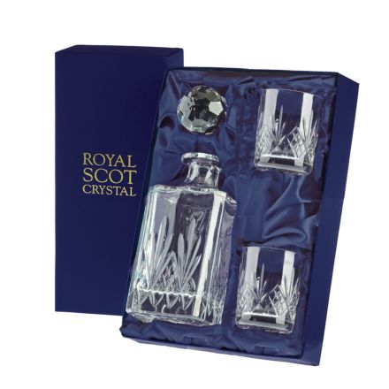 Highland - Crystal Whisky Set (1 Crystal Square Spirit Decanter & 2 Whisky Tumblers) (Presentation Boxed) | Royal Scot Crystal