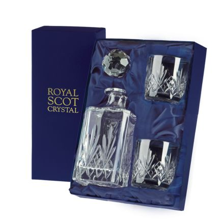 Highland - Whisky Set (Sq Spirit Decanter & 2 Old Fashioned  Tumblers) (Presentation Boxed) | Royal Scot Crystal
