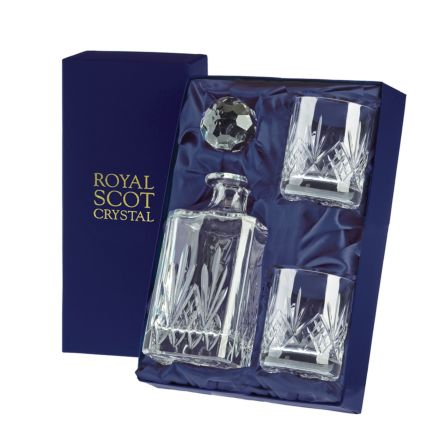 Highland - Whisky Set (Sq Spirit Decanter & 2 Large 'On the Rocks'  Tumblers) (Presentation Boxed) | Royal Scot Crystal