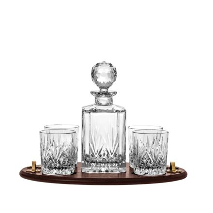 Highland Club Tray (1 Crystal Square Spirit Decanter & 4 Large Crystal Tumblers) (Solid Oak Tray) | Royal Scot Crystal
