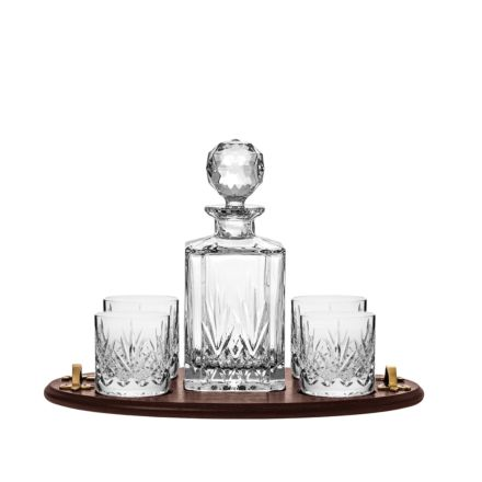 Highland Club Tray (Square Spirit Decanter & 4 Old Fashioned Tumblers) (Solid Oak Tray) | Royal Scot Crystal