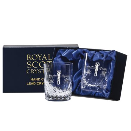 2 Highland Whisky Tumblers engraved Golfer 87mm (Presentation Boxed) | Royal Scot Crystal