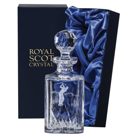 Highland Square Spirit Decanter engraved Golfer 245mm (Presentation Boxed) | Royal Scot Crystal