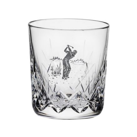 Highland Large tumbler engraved Golfer 95mm (Gift Boxed) | Royal Scot Crystal