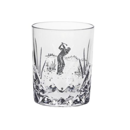Highland Whisky Tumbler engraved Golfer 87mm (Gift Boxed) | Royal Scot Crystal