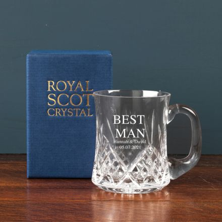 Personalised - Hand Cut Crystal Engraved Highland Tankard -  1 Pint (Gift Boxed) | Royal Scot Crystal