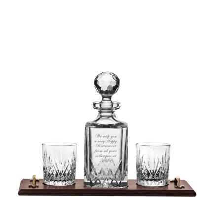 Personalised - Hand Cut Crystal Engraved Highland Whisky Tray Set (1 Crystal Square Spirit Decanter & 2 Tumblers - Solid Oak Tray) | Royal Scot Crystal