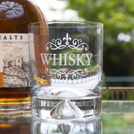 Large Tumbler (Dimple based) Engraved WHISKY (Gift Boxed) - Perfect for Father's Day