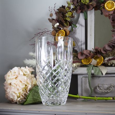 London Crystal Large Barrel Vase (Gift Boxed)