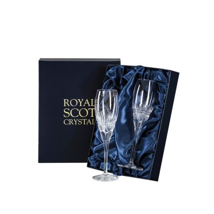 Iona - 2 Crystal Champagne Flutes 218m Iona (Presentation Boxed) | Royal Scot Crystal - New!