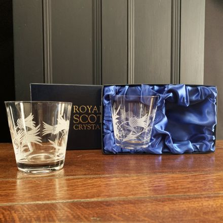 SALE - Flower of Scotland 2 Flared Tumblers 95mm (Presentation Boxed)  | Royal Scot Crystal