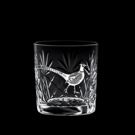 British Wildlife - Kintyre Whisky Tumbler engraved PHEASANT (84mm, 26cl) (Gift Boxed)