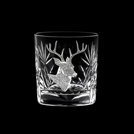 British Wildlife - Kintyre Whisky Tumbler engraved STAG (84mm, 26cl) (Gift Boxed)