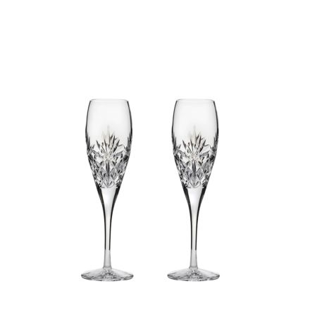 Kintyre - 2 Crystal Tall Flute Champagne Glasses - 218mm (Gift Boxed) | Royal Scot Crystal