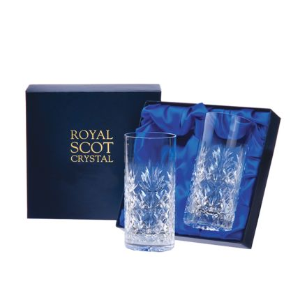 Kintyre - 2 Crystal Tall Tumblers 150mm (Presentation Boxed) | Royal Scot Crystal
