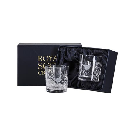 British Wildlife - 2 Kintyre Whisky Tumblers engraved PHEASANT (84mm, 26cl) (Presentation Boxed)