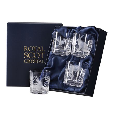 British Wildlife - 4 Kintyre Whisky Tumblers engraved STAG, HARE, SALMON & PHEASANT (84mm, 26cl) (Presentation Boxed)