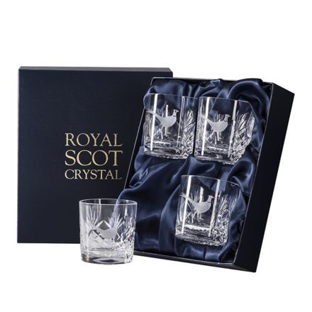 British Wildlife - 4 Kintyre Whisky Tumblers engraved PHEASANT(84mm, 26cl) (Presentation Boxed)