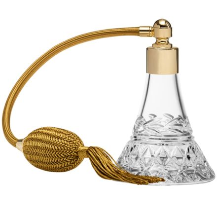 Laurel Crystal Glass Perfume Bottle (Conical) with Gold Atomiser (Gift Boxed)