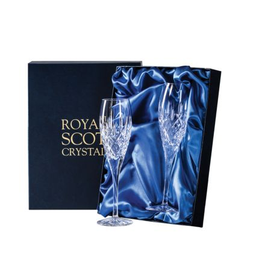 London - 2 Crystal Champagne Flutes 218mm (Presentation Boxed) | Royal Scot Crystal - New Shape!