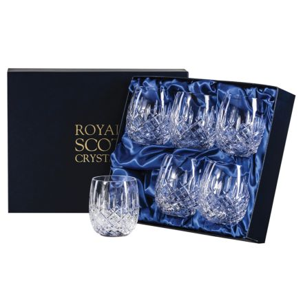 London -  6 Crystal Gin & Tonic (G&T) Tumblers 12oz (Barrel Shaped) - 95mm (Presentation Boxed) | Royal Scot Crystal