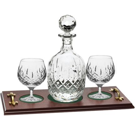 London - Brandy Tray Set Crystal Brandy Decanter &  2 Brandy Glasses (Gift Boxed) | Royal Scot Crystal