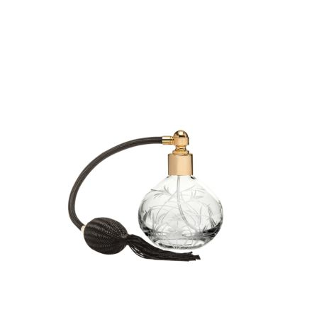 Meadow Flowers Round Perfume Atomiser (Black Puffer) - 105mm (Gift Boxed)   Royal Scot Crystal