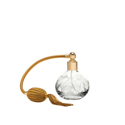 Meadow Flowers Round Perfume Atomiser (Gold Puffer) - 105mm (Gift Boxed) | Royal Scot Crystal