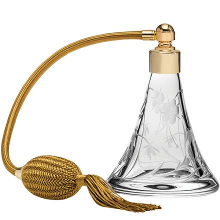 Meadow Flowers Crystal Glass Perfume Bottle (Conical) with Cream Atomiser (Gift Boxed) Gold