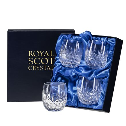 Mixed Set of 4 Barrel Tumblers - Iona, London, Edinburgh & Highland 85mm (Presentation Boxed) | Royal Scot Crystal