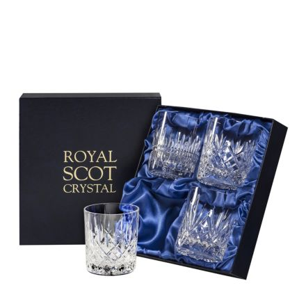 Mixed Set of 4 Large Tumblers - Iona, London, Edinburgh & Highland, 85mm (Presentation Boxed) | Royal Scot Crystal