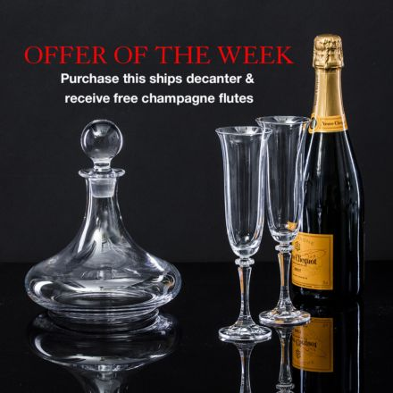 Offer of the week - Classic ships decanter & boxed pair of FREE classic champagne flutes