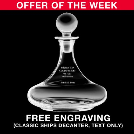 Personalised - Crystal Engraved Ships Decanter Classic Collection - 225mm (Gift Boxed) | Royal Scot Crystal