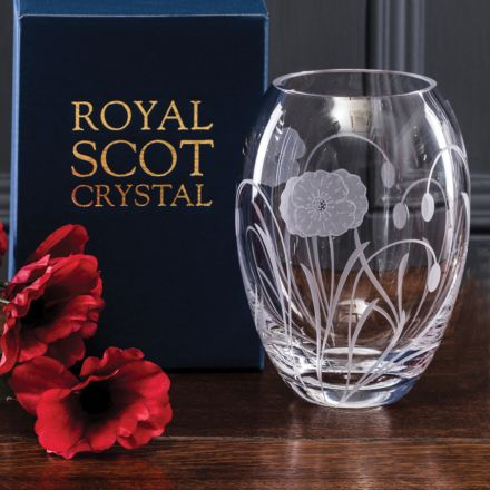 Poppy Field - Small Barrel Vase 145mm (Gift Boxed) | Royal Scot Crystal