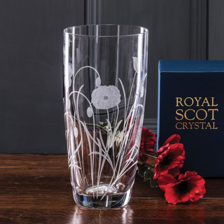 Poppy Field - Tall Vase 250mm (Gift Boxed) | Royal Scot Crystal