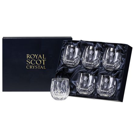 Scottish Thistle - 6 Barrel Tumblers 85mm (Presentation Boxed) | Royal Scot Crystal