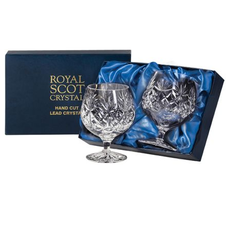 Kintyre 2 Crystal Brandy Glasses - 132mm (Presentation Boxed) | Royal Scot Crystal