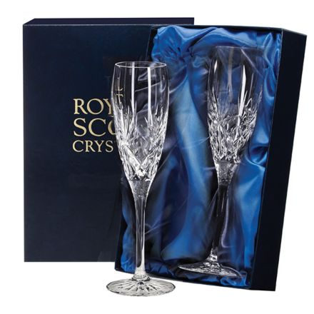 Kintyre - 2 Crystal Champagne Flutes  - 218mm (Presentation Boxed) | Royal Scot Crystal