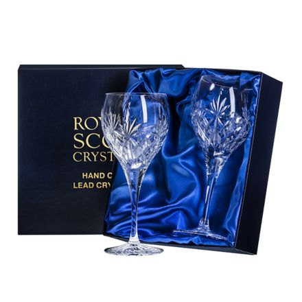 Kintyre - 2 Large Wine Glasses - 210mm (Presentation Boxed) | Royal Scot Crystal