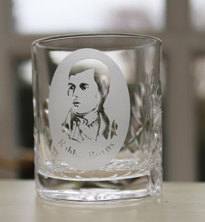 Kintyre Crystal Tot Glass engraved Rabbie Burns (Gift Boxed) 2oz, 6cl, 60mm
