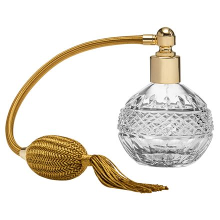 Regency Crystal Glass Perfume Bottle (Round) with Gold Atomiser (Gift Boxed)