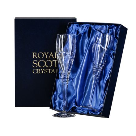 Saturn - 2 Crystal Champagne Flutes (Presentation Boxed)