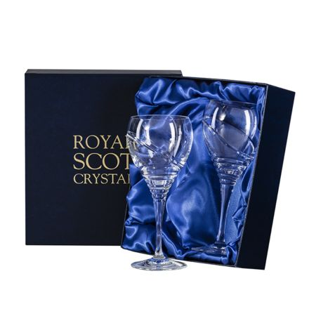 Saturn - 2 Large Crystal Wine Glasses (Presentation Boxed)