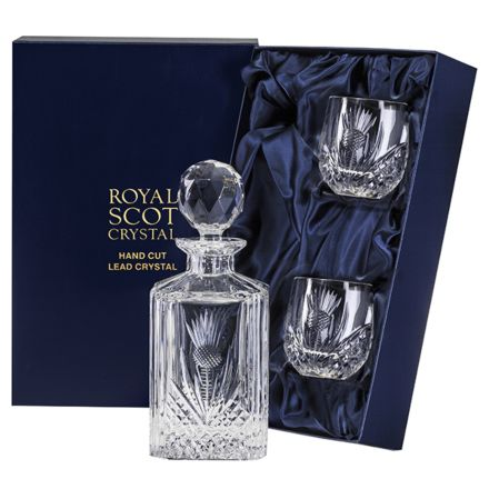 Scottish Thistle - Whisky Set (Barrel Tumblers) (Presentation Boxed) | Royal Scot Crystal