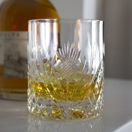 Scottish Thistle - Single Large On the Rocks Tumbler 100 mm (Gift Boxed) | Royal Scot Crystal
