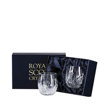 Scottish Thistle - 2 Barrel Tumblers 85mm (Presentation Boxed) | Royal Scot Crystal