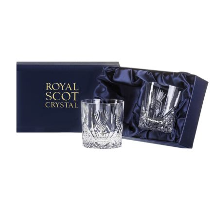 Scottish Thistle - 2 Large Tumblers 95mm (Presentation Boxed) | Royal Scot Crystal