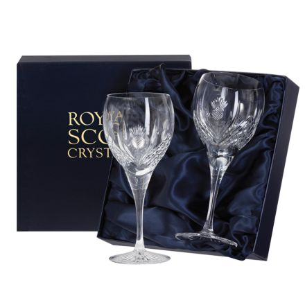 Scottish Thistle - 2 Large Wine Glasses 195mm (Presentation Boxed) | Royal Scot Crystal