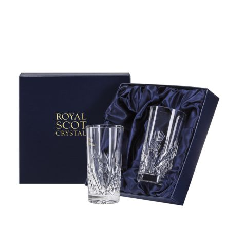 Scottish Thistle - 2 Tall Tumblers Scottish Thistle 150mm (Presentation Boxed) | Royal Scot Crystal