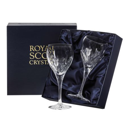 Scottish Thistle - 2 Wine Glasses 195mm (Presentation Boxed) | Royal Scot Crystal